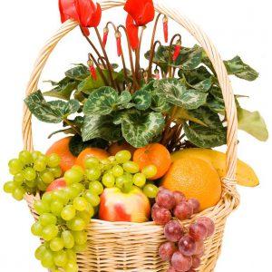Kosz kwiatowy z owocami