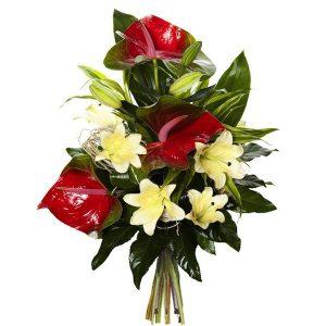 """Bukiet kondolencyjny """"Anturium z lilią"""""""