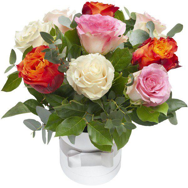,,Kolorowe róże w pudełku''