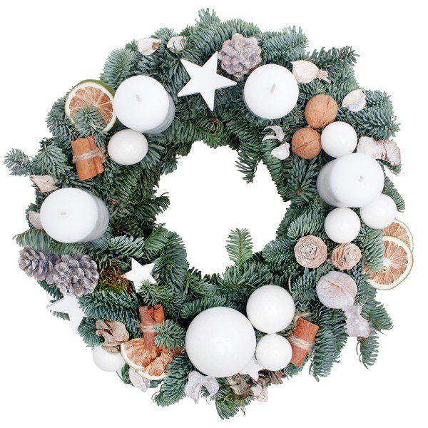 Biały Wianek Świąteczny
