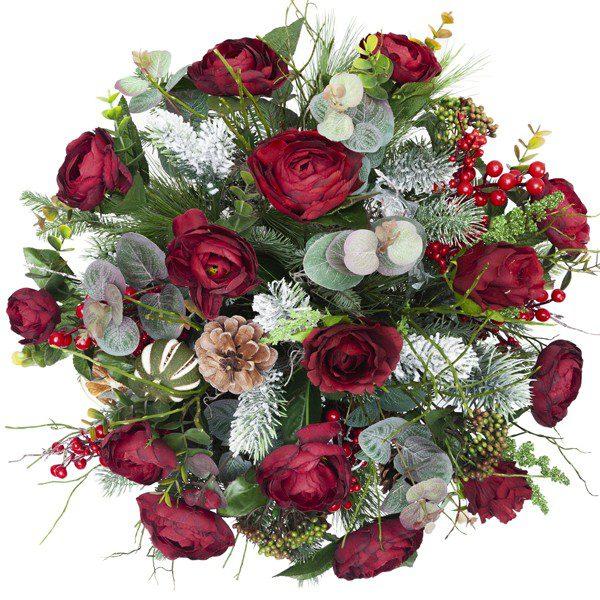 Box świąteczny z czerwonymi kwiatami