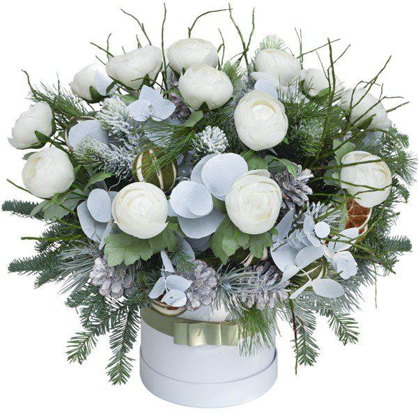Box świąteczny z białymi kwiatami