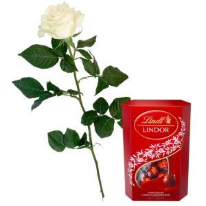 Róża z czekoladkami